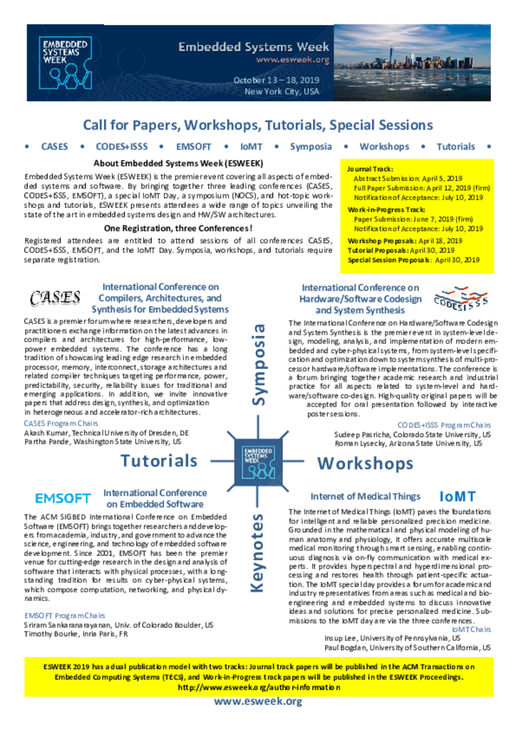 Cfp Esweek 2019 Ieee Council On Electronic Design Automation
