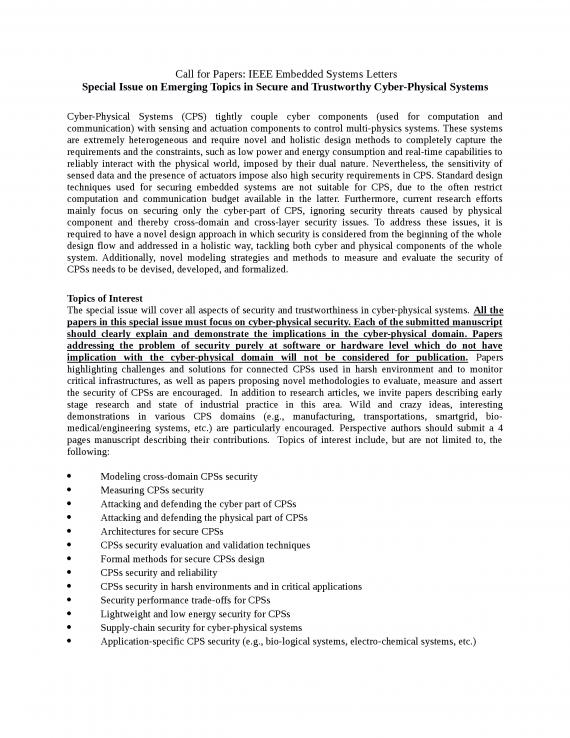 Call for Papers: ESL Real-Time Tech