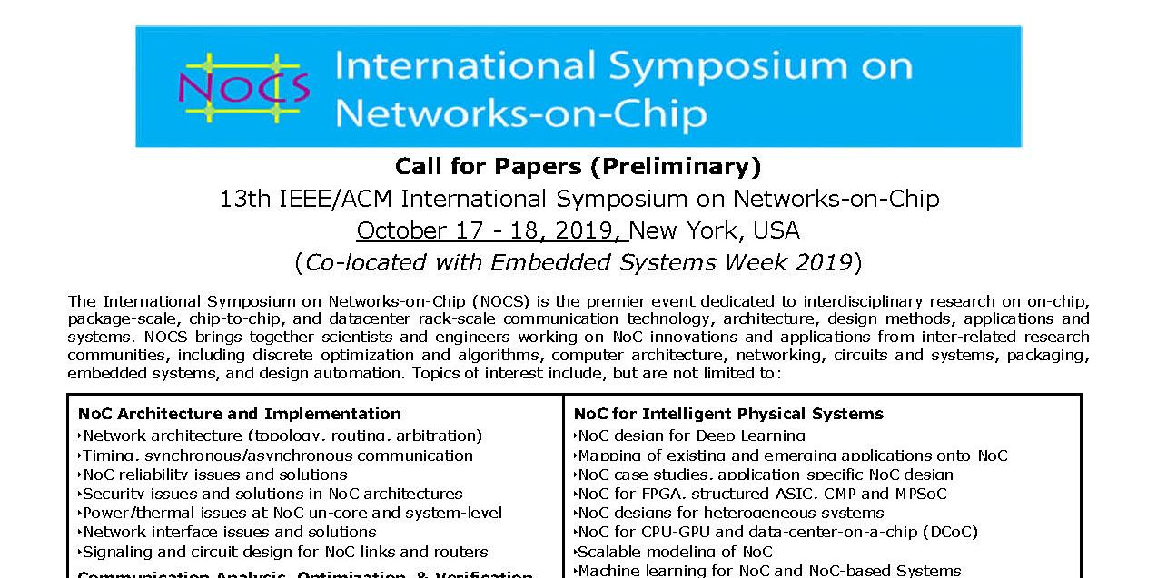 Update Call For Papers Ieee Acm Nocs 2019 Extended Deadline May 31 Ieee Council On Electronic Design Automation